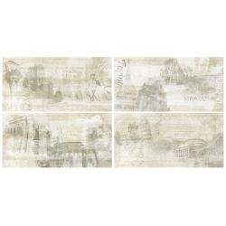Rondine Icon Almond History Mix J85251 4 részes dekorcsempe 30x60 cm
