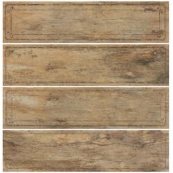 Rondine Metalwood Beige Bordo Mix J84370 4 részes dekorcsempe 15x61 cm