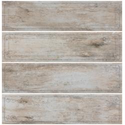 Rondine Metalwood Dust Bordo Mix J84371 4 részes dekorcsempe 15x61 cm