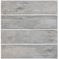 Rondine Metalwood Grey Bordo Mix J84372 4 részes dekorcsempe 15x61 cm