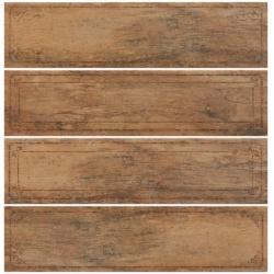 Rondine Metalwood Tobacco Bordo Mix J84374 4 részes dekorcsempe 15x61 cm