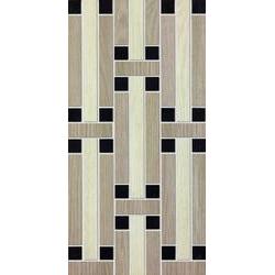 Marazzi Treverk M7XC Decoro Treverk White / Capucciono / Black üvegszálas ragasztott mozaik 30 x 60 cm