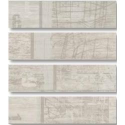 Rondine Tabula Tracce Bianco Listone J84578 4 részes dekorcsempe 15x61 cm